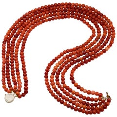 5-Strand Deep Salmon Red Coral Necklace