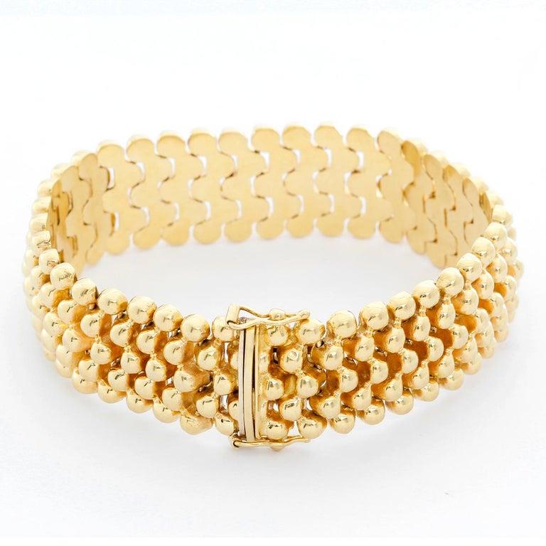 Women's 5 Strands Gold Bead Bracelet For Sale