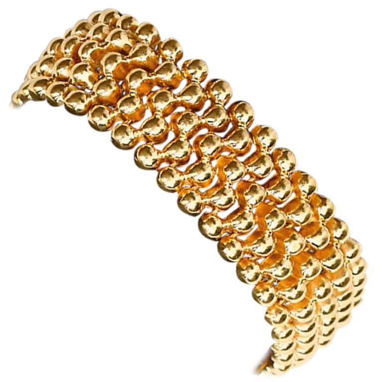 5 Strands Gold Bead Bracelet For Sale