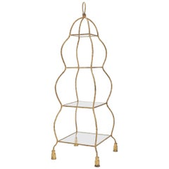5-Tier Twisted Metal Gilt Rope Tassel Feet Pyramid Shape Étagère Display Shelf