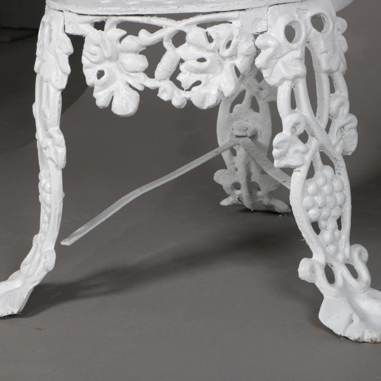 5 Victorian White Painted Cast Iron Grape and Leaf Garden Chairs, 20th Century For Sale 5