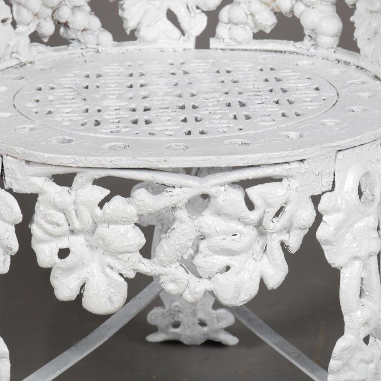 5 Victorian White Painted Cast Iron Grape and Leaf Garden Chairs, 20th Century For Sale 9