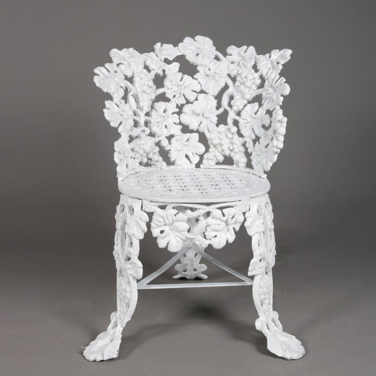 High Victorian 5 Victorian White Painted Cast Iron Grape and Leaf Garden Chairs, 20th Century For Sale