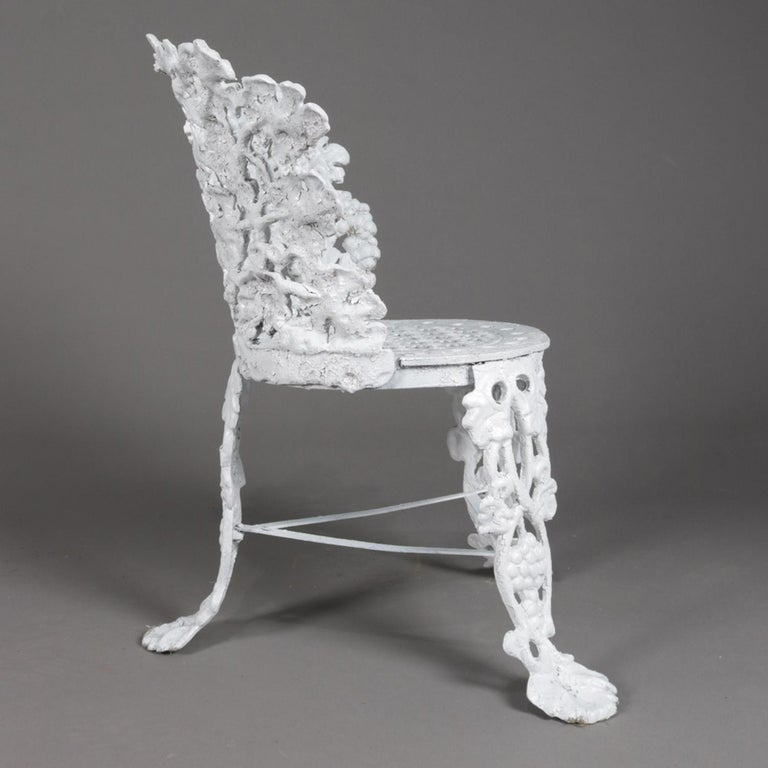 American 5 Victorian White Painted Cast Iron Grape and Leaf Garden Chairs, 20th Century For Sale
