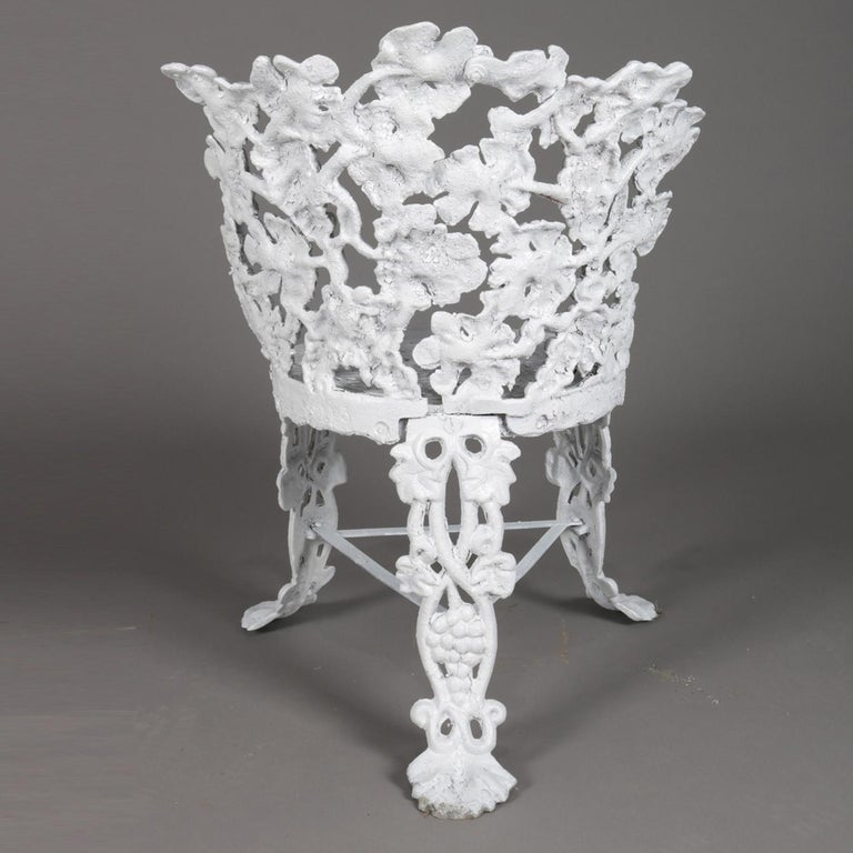 5 Victorian White Painted Cast Iron Grape and Leaf Garden Chairs, 20th Century In Good Condition For Sale In Big Flats, NY