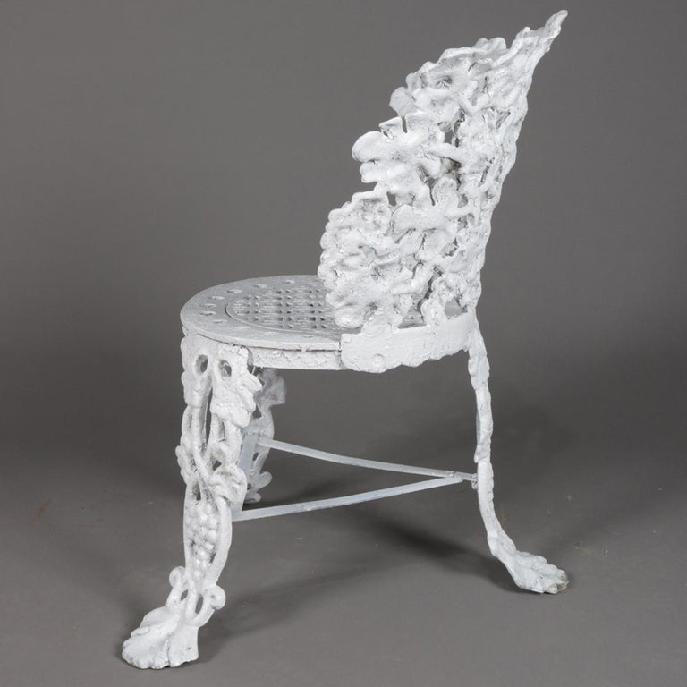 5 Victorian White Painted Cast Iron Grape and Leaf Garden Chairs, 20th Century For Sale 1
