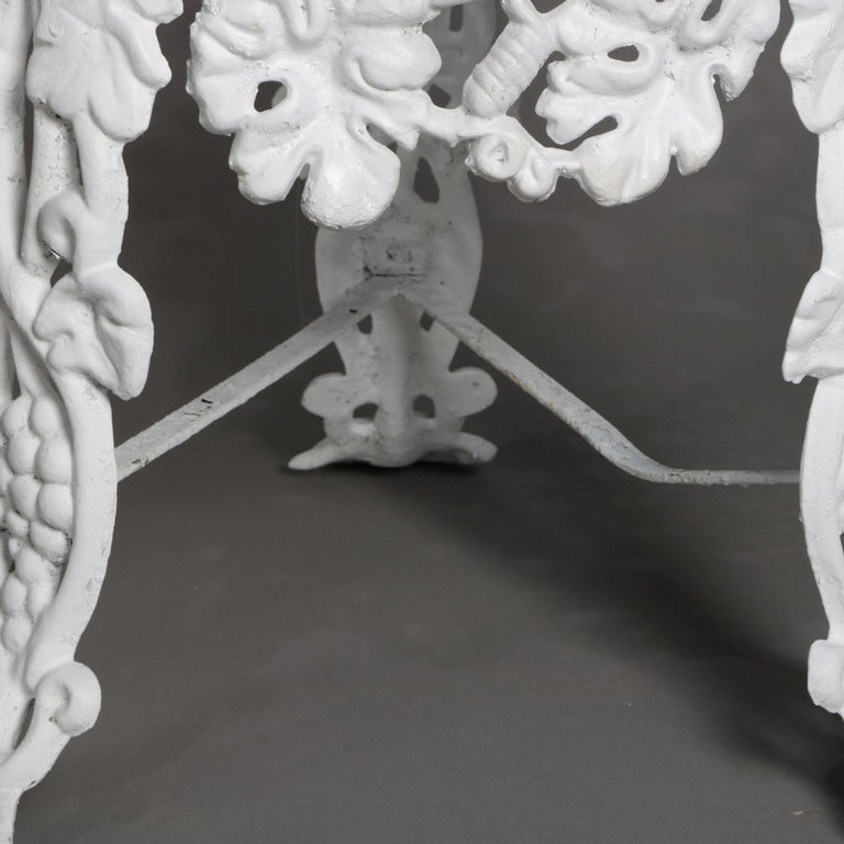 5 Victorian White Painted Cast Iron Grape and Leaf Garden Chairs, 20th Century For Sale 2