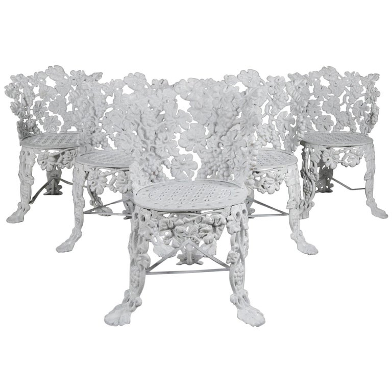 5 Victorian White Painted Cast Iron Grape and Leaf Garden Chairs, 20th Century For Sale