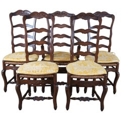 5 Vintage Country French Ladderback Dining Chairs Rush Seat Farmhouse Provincial