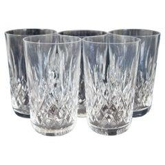 5 Vintage Waterford Crystal Lismore Tumblers High Ball Water Juice Glasses 12 Oz