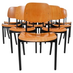 50 Bicolored Stacking Chairs Designed in the Manner of Roland Rainer, 1960s