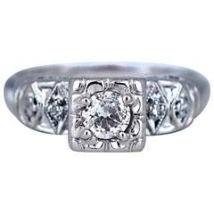 .50 Carat 14 Karat White Gold Art Deco Ring