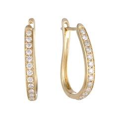 .50 Carat 14 Karat Yellow Gold Diamond Oval Hoop Earrings