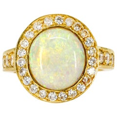 .50 Carat 18 Karat Yellow Gold Opal Diamond Cocktail Ring