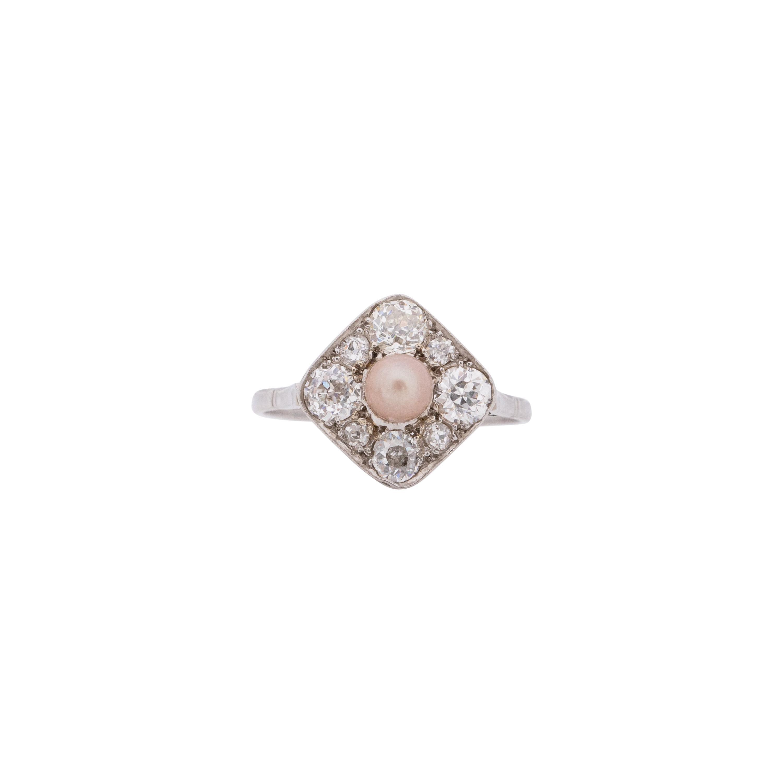 .50 Carat Art Deco Pearl Diamond Platinum Engagement Ring