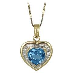 .50 Carat Baguette Diamond Heart with Blue Topaz 14 Karat Gold