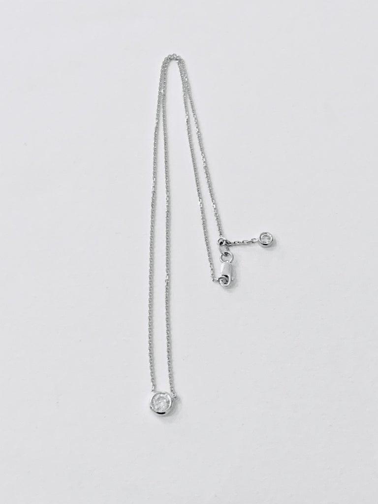 Women's or Men's .50 Carat Brilliant Cut Diamond Bezel Set Necklace in 18 Carat White Gold For Sale