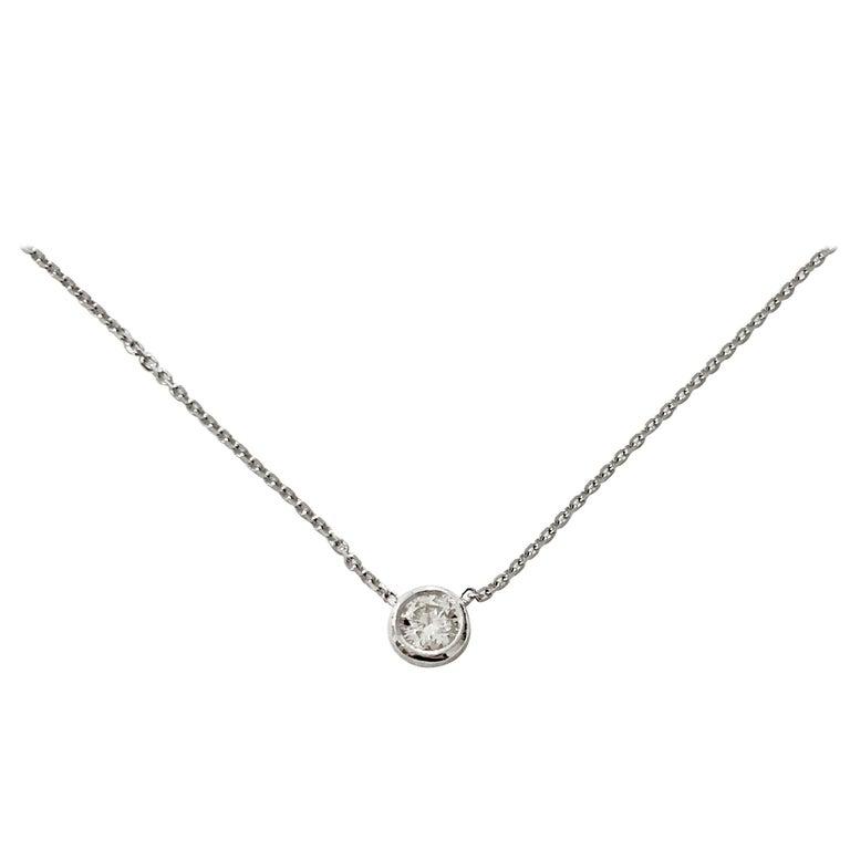 .50 Carat Brilliant Cut Diamond Bezel Set Necklace in 18 Carat White Gold For Sale