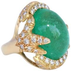 50 Carat Cabochon Emerald Diamonds 18 Karat Gold Ring Whimsical