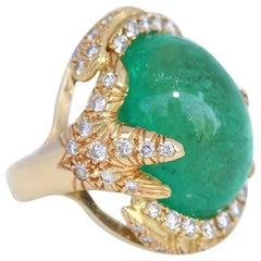 50 Carat Cabochon Emerald Diamonds 18 Karat Yellow Gold Ring