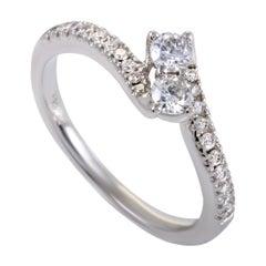 .50 Carat Curved 14 Karat White Gold Diamond Engagement Ring