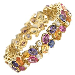 50 Carat Diamond and Rainbow Sapphire Bracelet, 14 Karat Gold, Ben Dannie