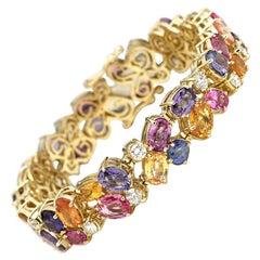 50 Carat Diamond and Rainbow Sapphire Bracelet, 14 Karat Gold, Ben Dannie