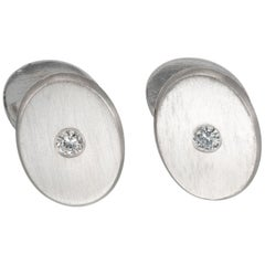.50 Carat Diamond Art Deco Platinum Oval Cufflinks