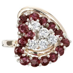 .50 Carat Diamond Garnet Yellow Gold Heart Shape Cocktail Ring