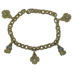 .50 Carat Diamond Handcrafted 18 Karat Gold and Platinum Flower Charm Bracelet