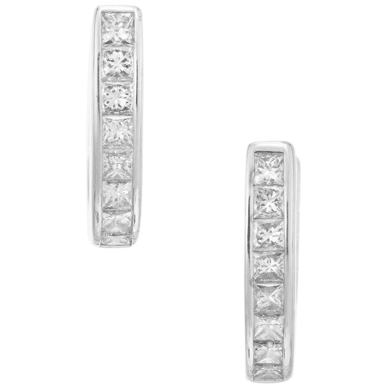 .50 Carat Diamond White Gold Huggie Earrings
