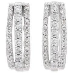 .50 Carat Diamond White Gold Lever Back Hoop Earrings