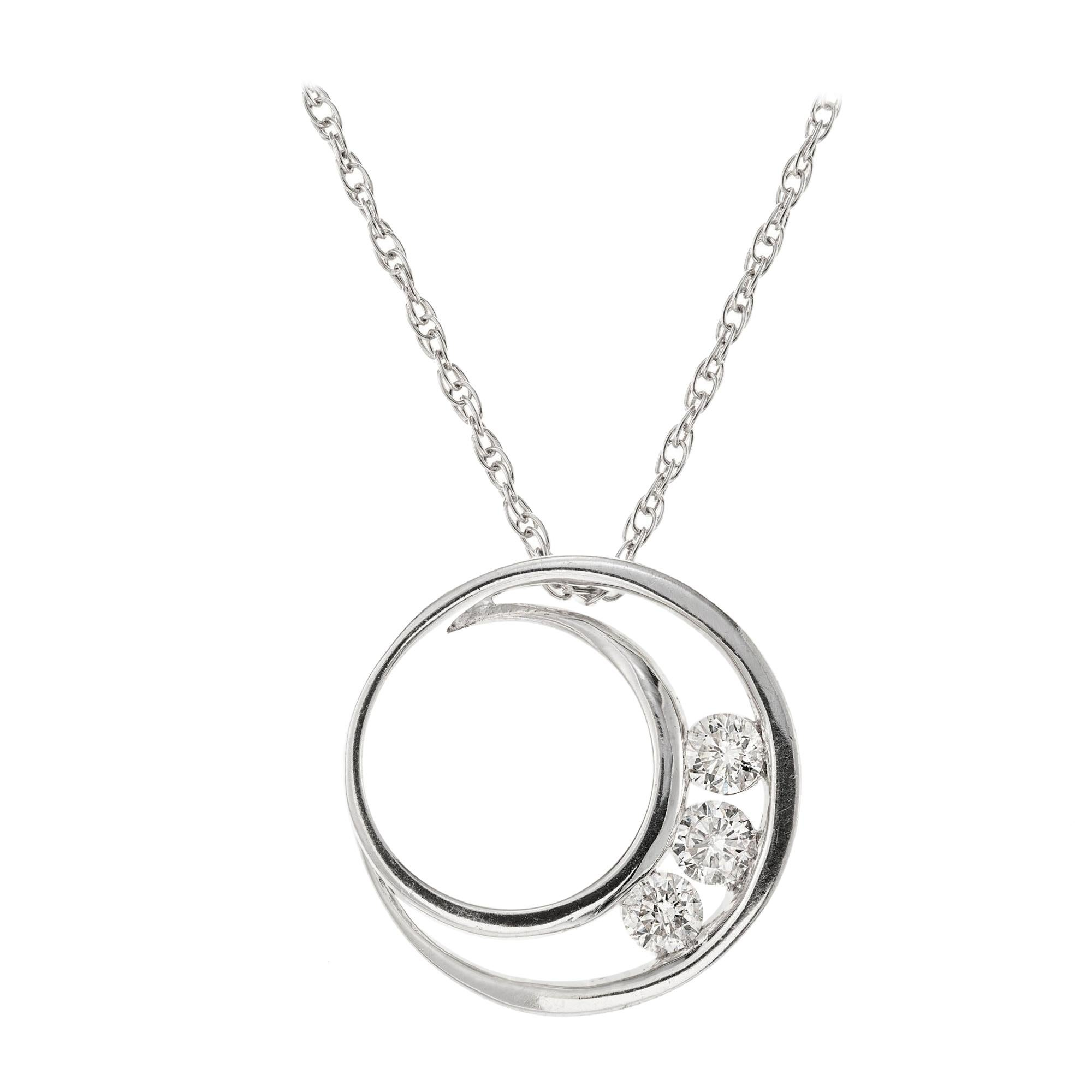 .50 Carat Diamond White Gold Pendant Necklace