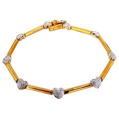 .50 Carat Diamonds Heart and Bar Link Bracelet 14 Karat