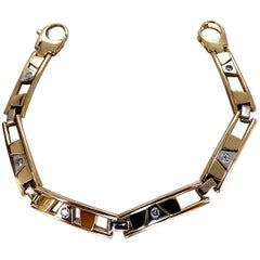 .50 Carat Diamonds Men's Kinetic Sliding Geometric Pattern Bracelet 14 Karat