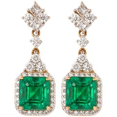 5.0 Carat Emerald and Diamond Earrings in 18 Karat Yellow Gold