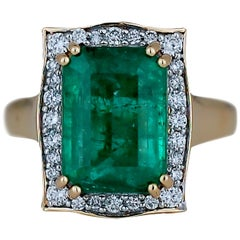 5.0 Carat Emerald Cut Emerald and Diamond Ring