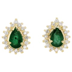 .50 Carat Emerald Diamond Halo Yellow Gold Stud Earrings