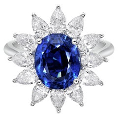 5.00 Carat Royal Blue Sapphire GRS Certified Unheated Diamond Ceylon Ring Oval