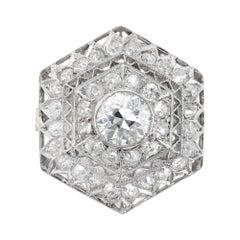 .50 Carat Hexagon Art Deco Edwardian Platinum Cocktail Ring