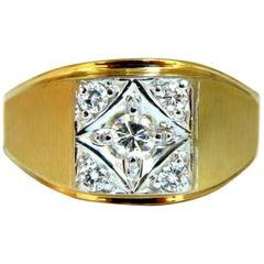 .50 Carat Men's Diamond Ring 14 Karat Masculine Mod 5 Spade Deck