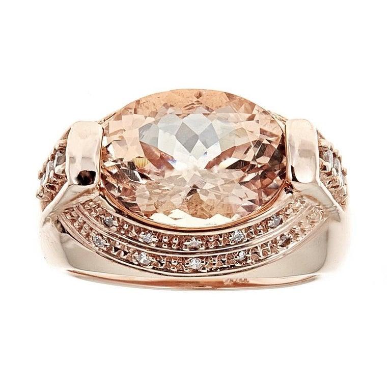 Contemporary 5.0 Carat Morganite and 0.5 Carat Diamond Ring in 14 Karat Rose Gold