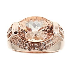 5.0 Carat Morganite and 0.5 Carat Diamond Ring in 14 Karat Rose Gold