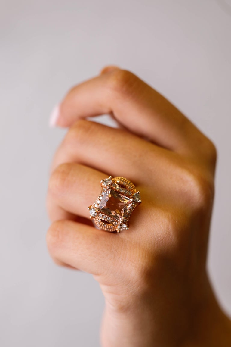 5 tcw Princess Cut Morganite and Diamond Ring in 14k Rose Gold Cocktail Ring For Sale 1