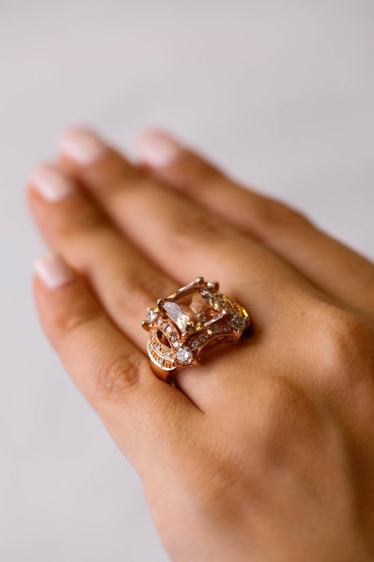 5 tcw Princess Cut Morganite and Diamond Ring in 14k Rose Gold Cocktail Ring For Sale 2