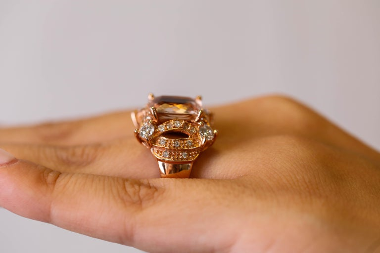 5 tcw Princess Cut Morganite and Diamond Ring in 14k Rose Gold Cocktail Ring For Sale 3