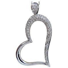 .50 Carat Natural Diamonds Heart Pendant 14 Karat Slanted