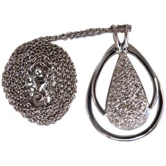.50 Carat Natural Diamonds Pear Cluster Necklace 14 Karat