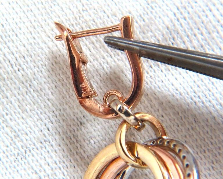 Round Cut .50 Carat Natural Diamonds Rolling Loop Rings Dangle Earrings 14 Karat Multi For Sale