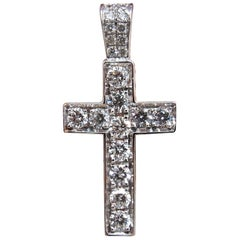 .50 Carat Natural Diamonds Rounds Cross Necklace 14 Karat Petite Class